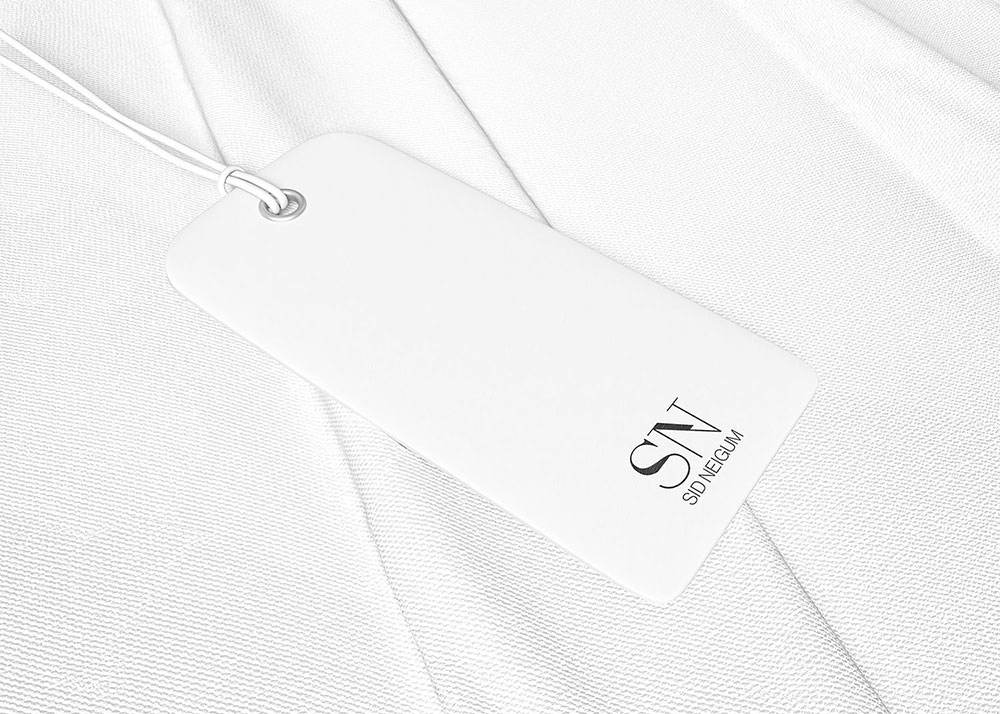 shopping tag mockup with Sid Neigum logo on it