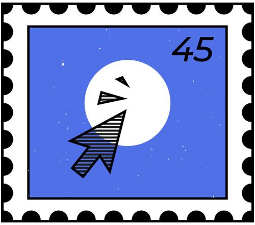 Briefmarke mit Mouse Cursor