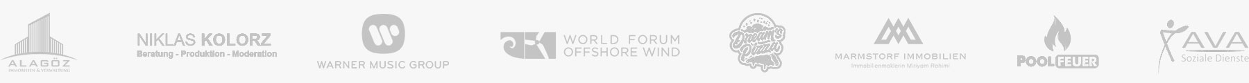 Logos unserer Kunden: Alagöz Immobilien, Niklas Kolorz, Warner Music Group, World Forum Offshore Wind, Dreams Pizza, Marmstorf Immobilien, Poolfeuer, Ava Soziale Dienste