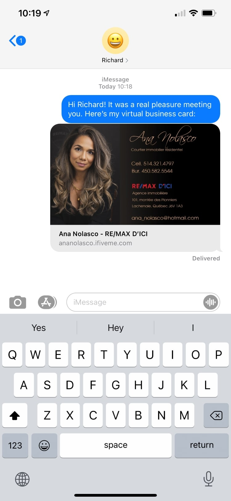 SMS screenshot showing how to share contact information