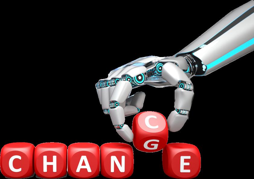 image d'illustration bras robot qui bouge une lettre du mot change chance