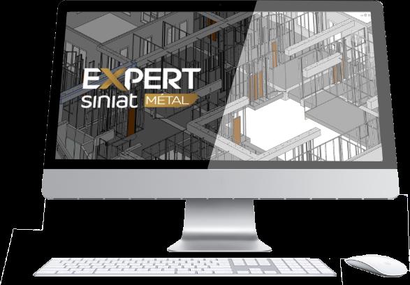 écran d'ordinateur avec maquette 3D et logo logiciel Expert Siniat