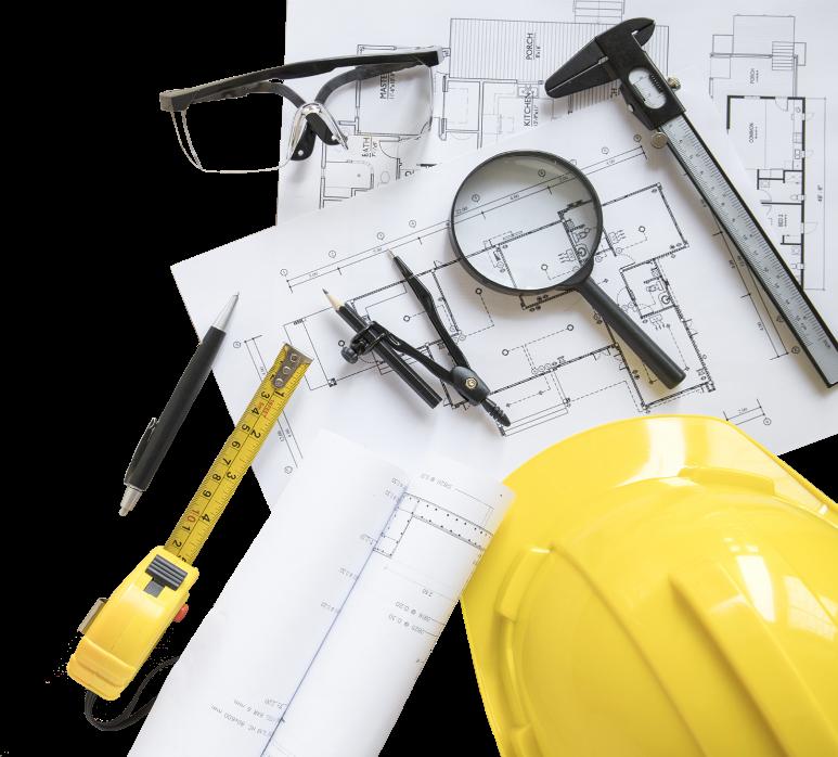photo illustration plan casque chantier lunette loupe crayon