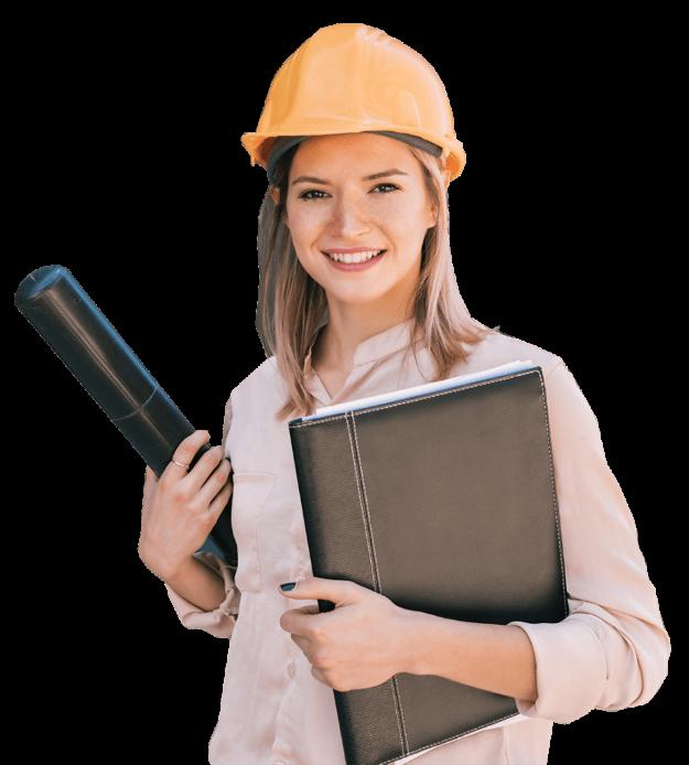 photo d'une femme avec casque de chantier et portant un rouleau et un dossier