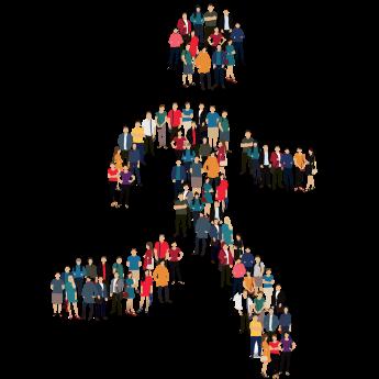 image d'illustration d'une silhouette composée de milliers de personnages