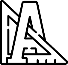 icône d'illustration en noir et blanc  équerre et lettre A
