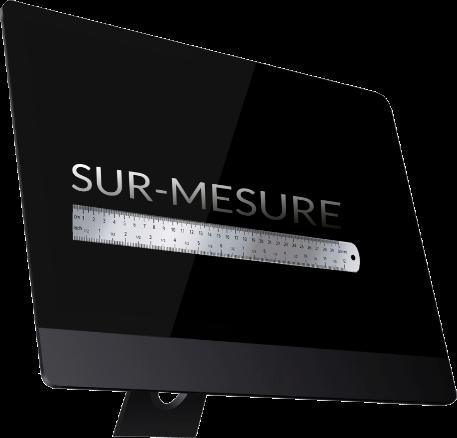 photo noir et blanc écran ordinateur avec mention sur mesure