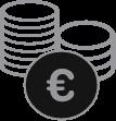 icône d'illustration en noir et blanc silo base de données euros