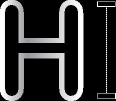 icône d'illustration en noir et blanc h de hauteur, contrôle