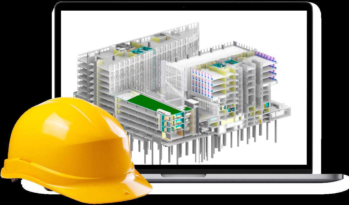 photo écran ordinateur avec maquette 3D et casque chantier posé devant