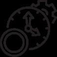 icône d'illustration en noir et blanc  horloge euro roue crantée
