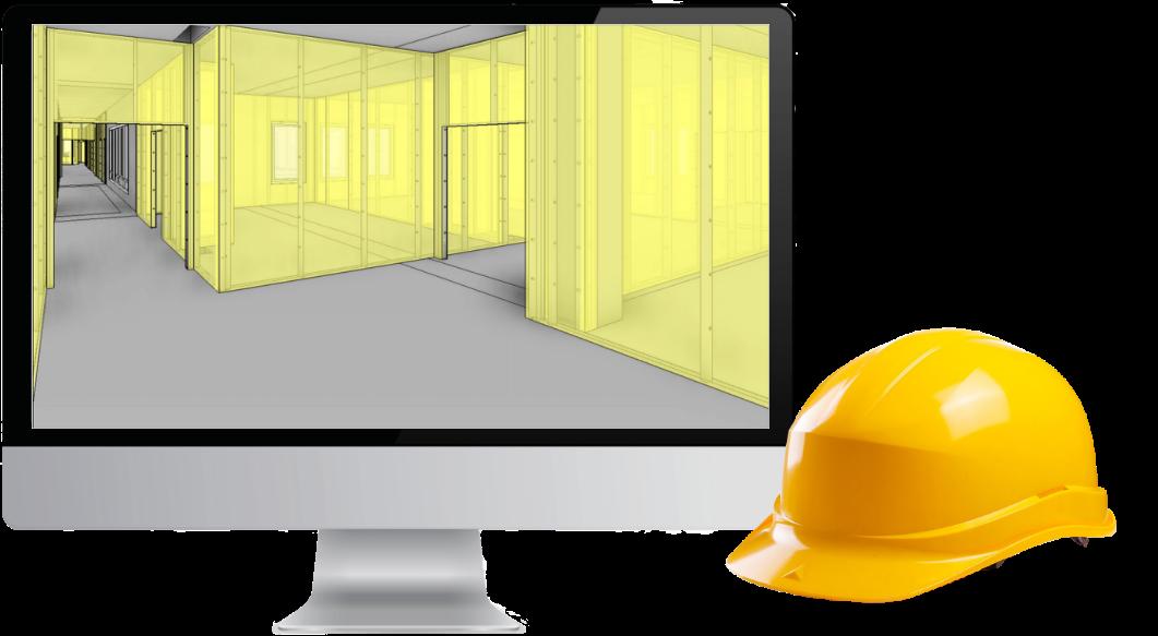 1 écran d'ordinateur avec maquette 3D chantier et à côté un casque jaune de chantier