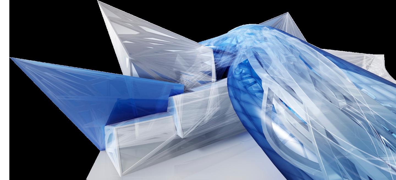 Structure 3D bleue et blanche créé avec Revit