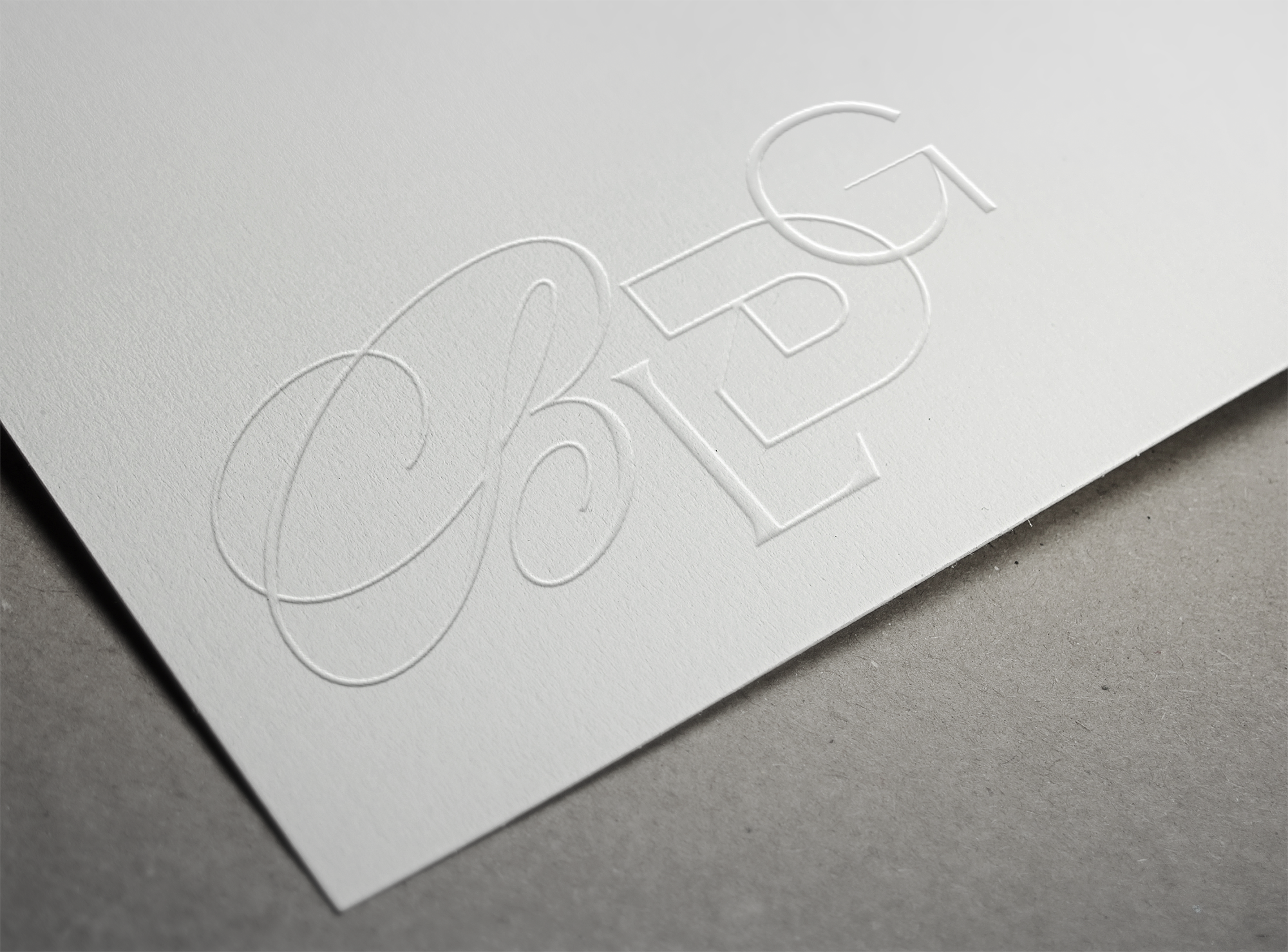 Embossed print on paper for stationery design of our brand. BLDG is short for Building.