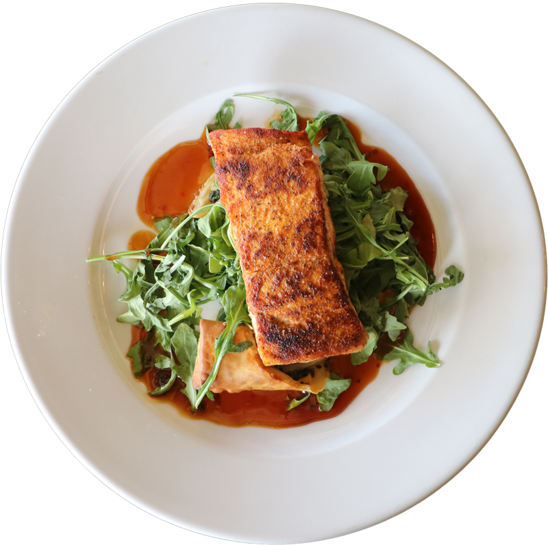 Roasted Salmon | Fresh Atlantic Salmon, Mango Spring Roll, Arugula, Orange Teriyaki