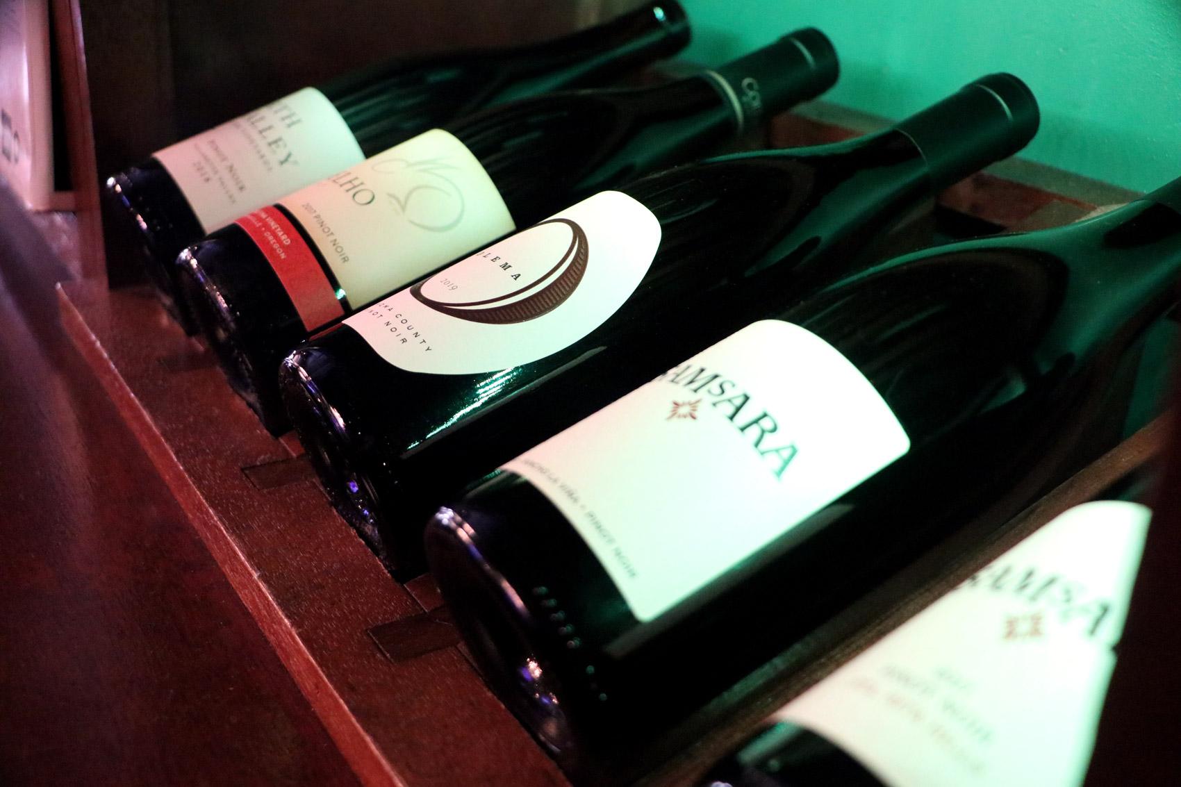 Bottles of Pinot Noir Wine