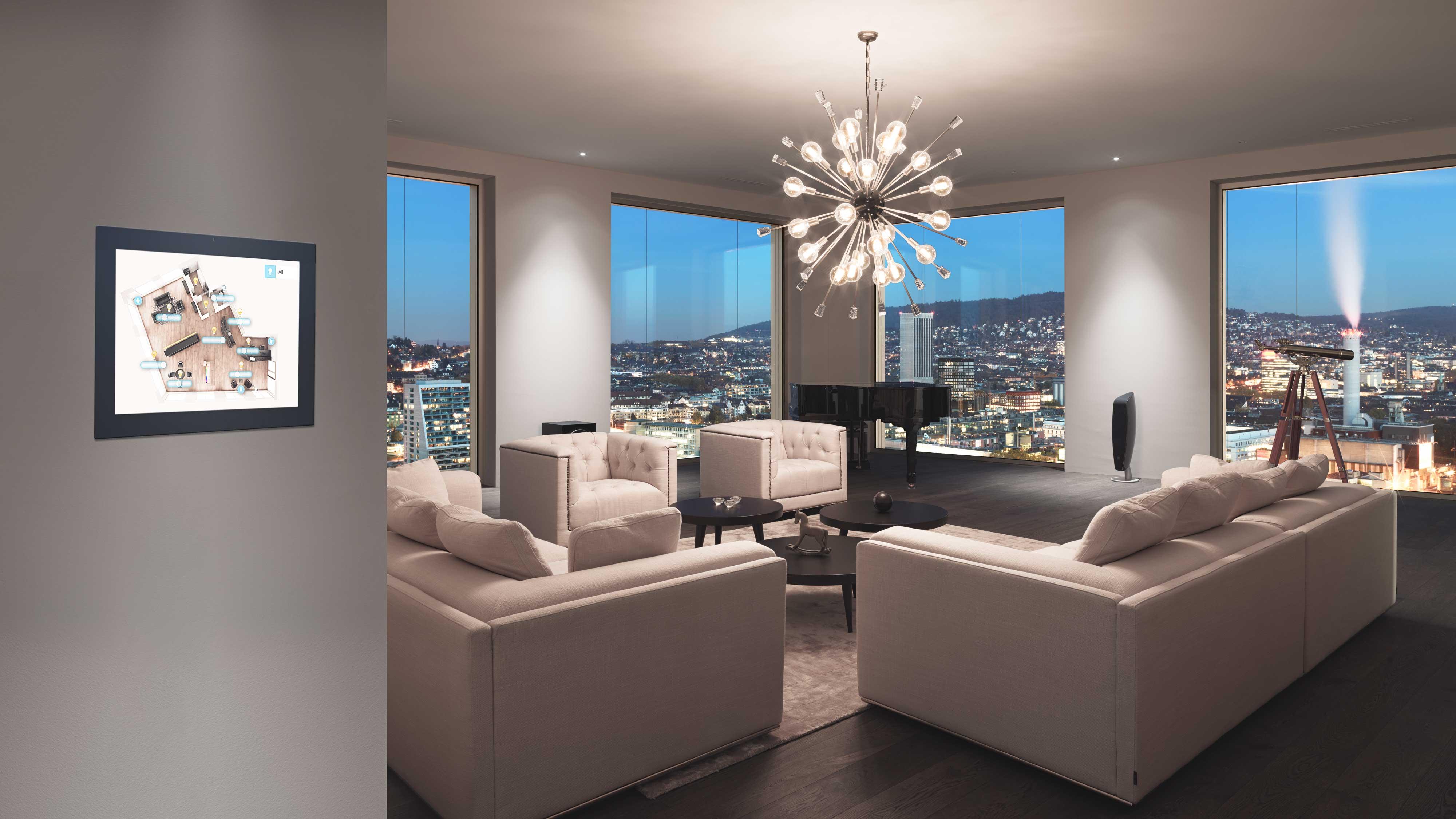Foto von einem Wohnzimmer mit Touchpanel