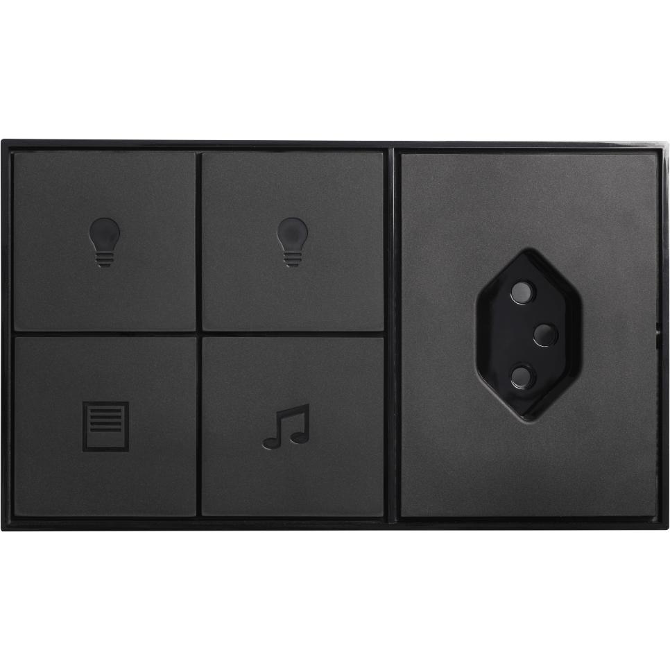 4-Fach-Taster mit Steckdose schwarz horizontal