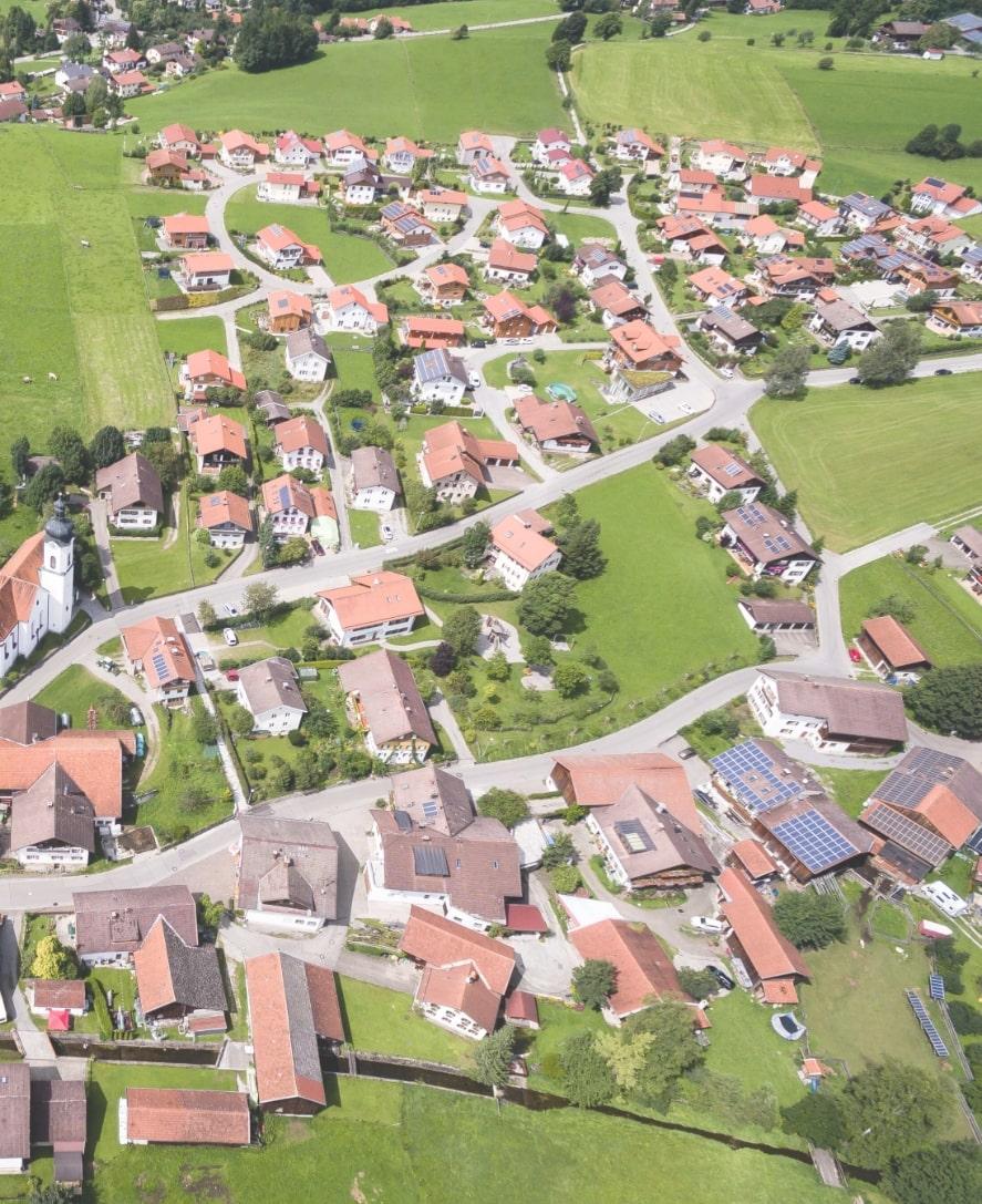 Vue aérienne village -  estimer prix maison ou terrain