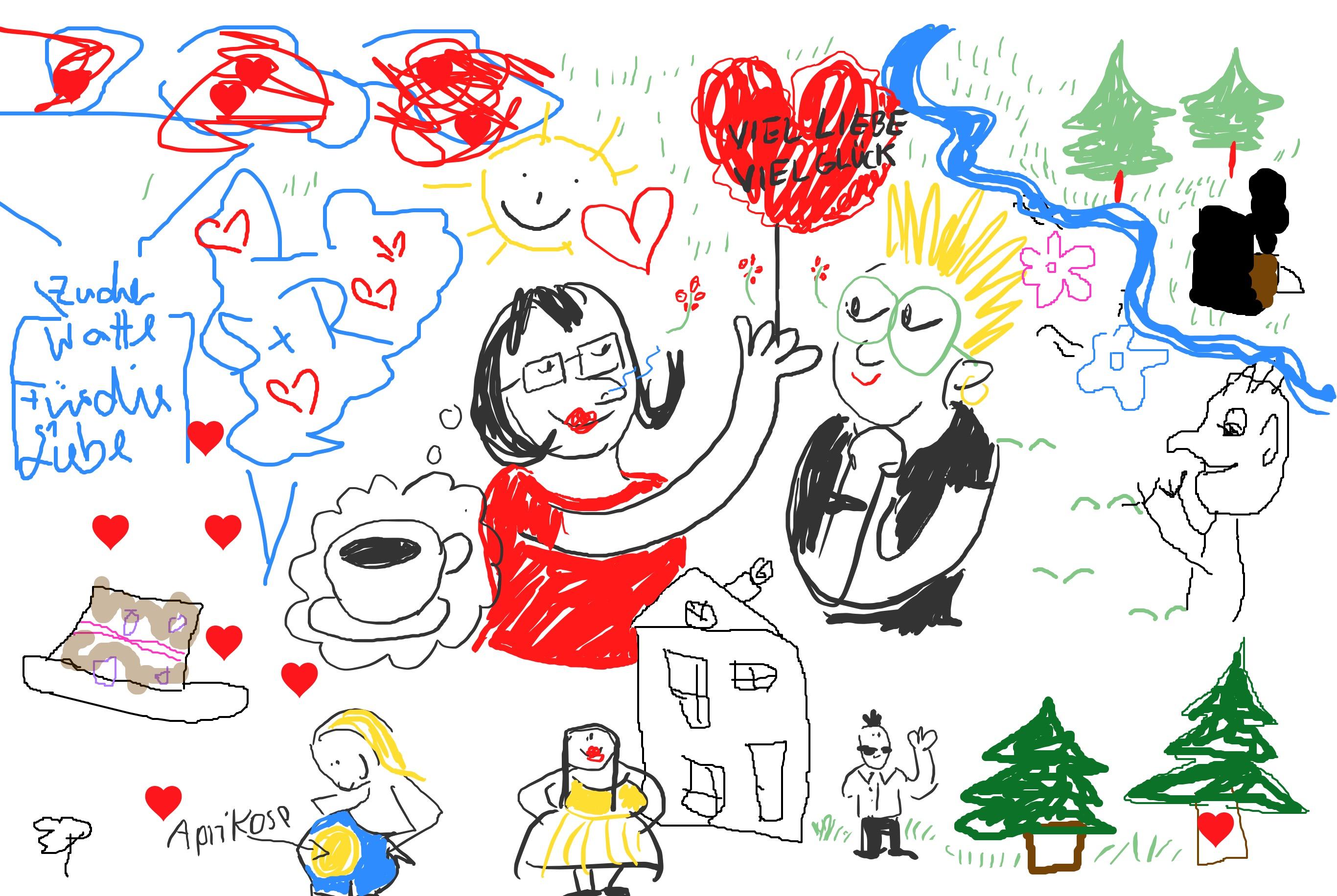 Gemaltes buntes Bild mit Liebesbotschaften mit roten Herzen, Pärchen, Bäumen, Fluss und Haus.