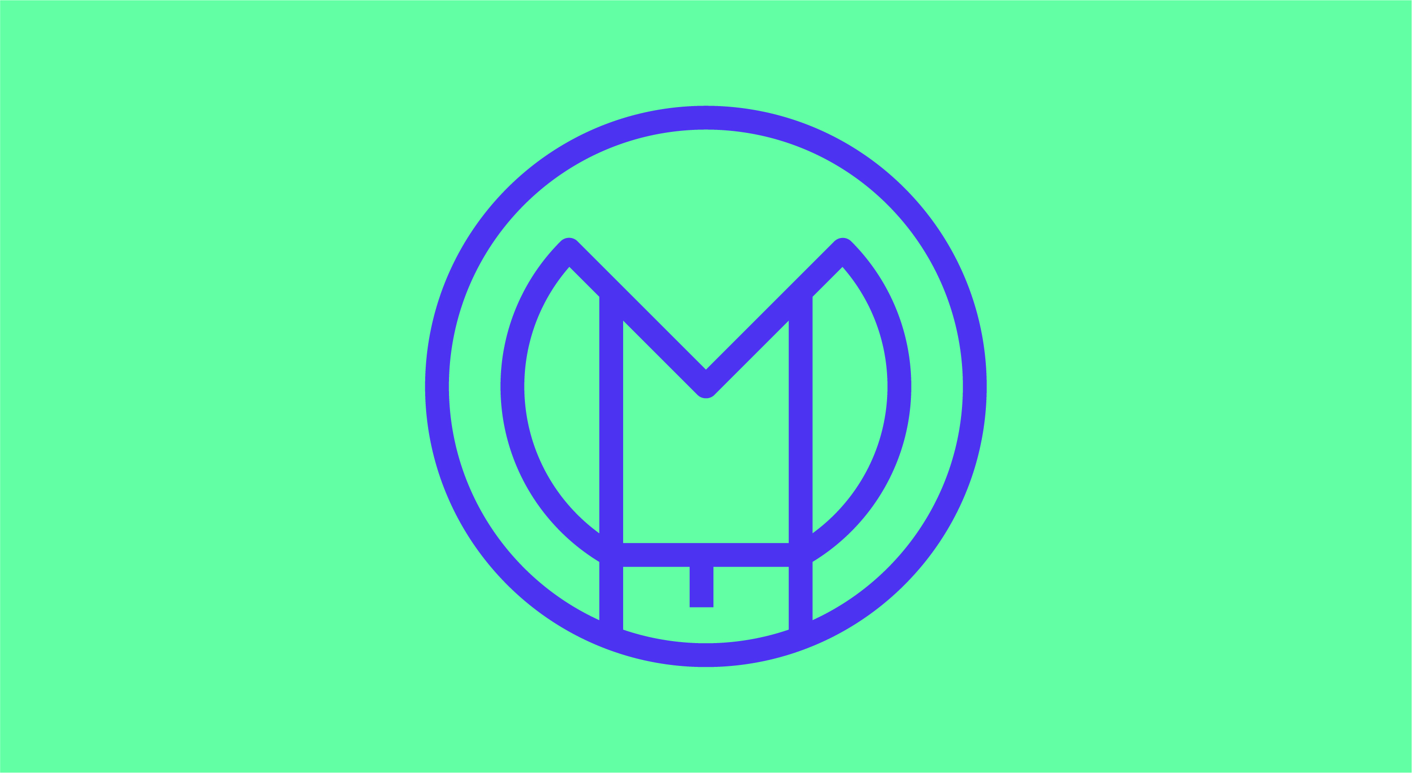 Lilafarbenes Symbol aus den Buchstaben M O V und E in Form eines Kreises vor einem türkisen Hintergrund.