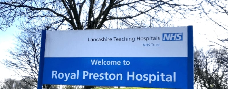 Image of the welcome sign for Royal Preston Hospital