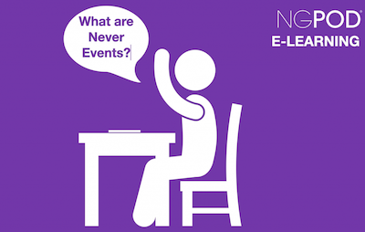 """Image of a student asking """"What Are Never Events?"""""""