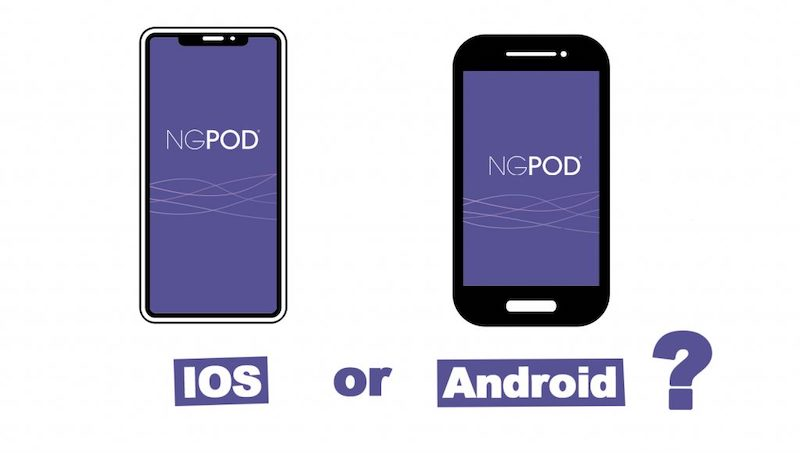 Should the NGPod mobile app launch first on Android or iPhone?
