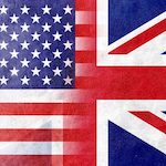 Image of the USA flag merging with the UK flag