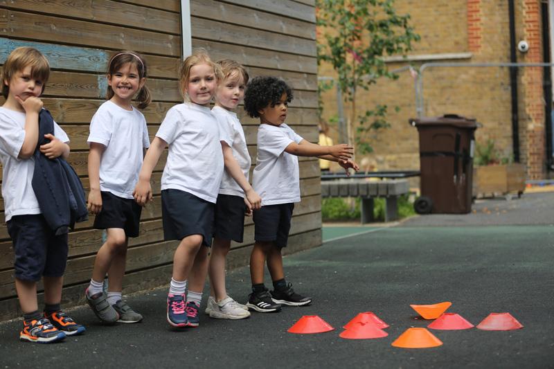 PE lesson at the Belham Primary School