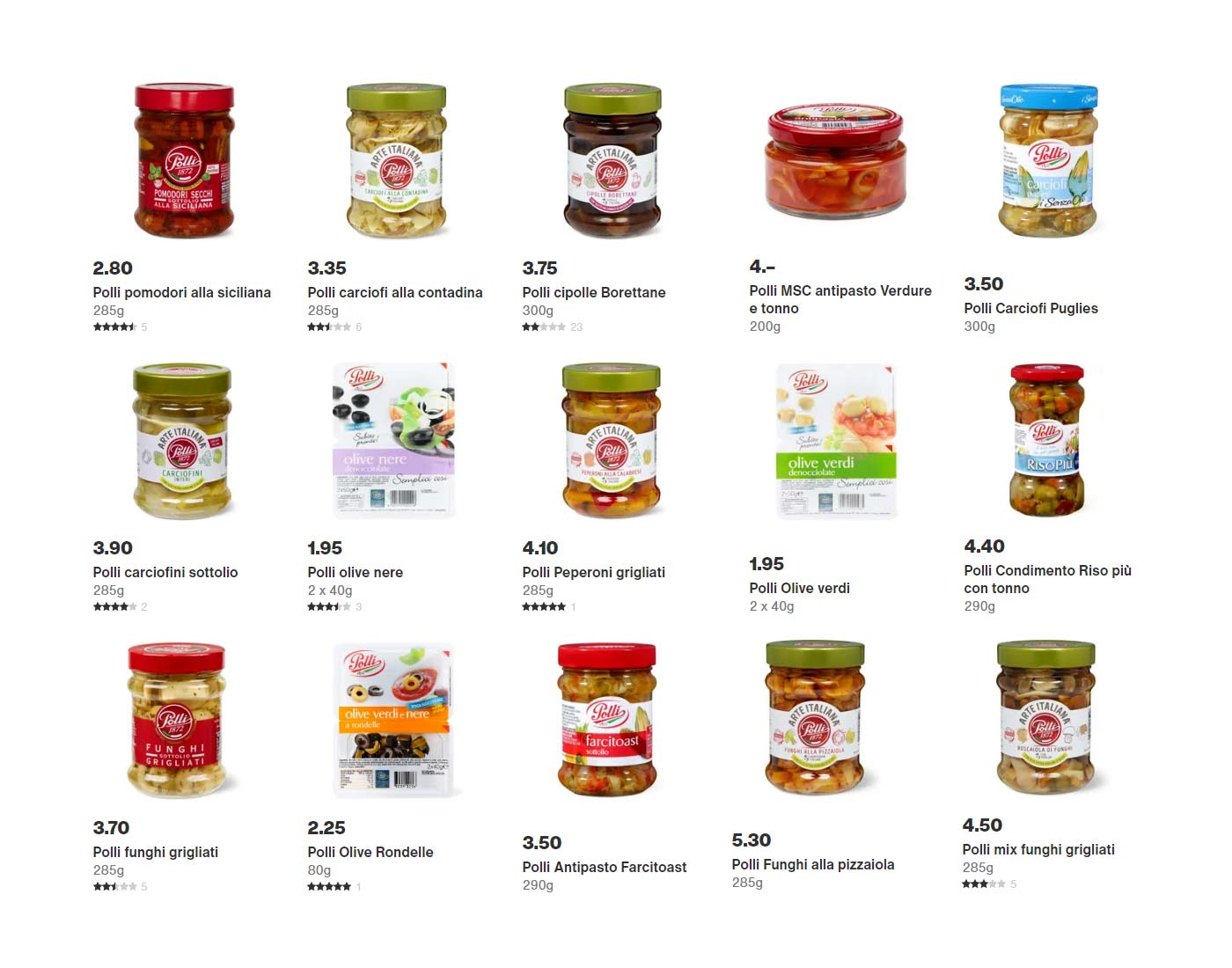 Sottoaceti e olive Polli Migros