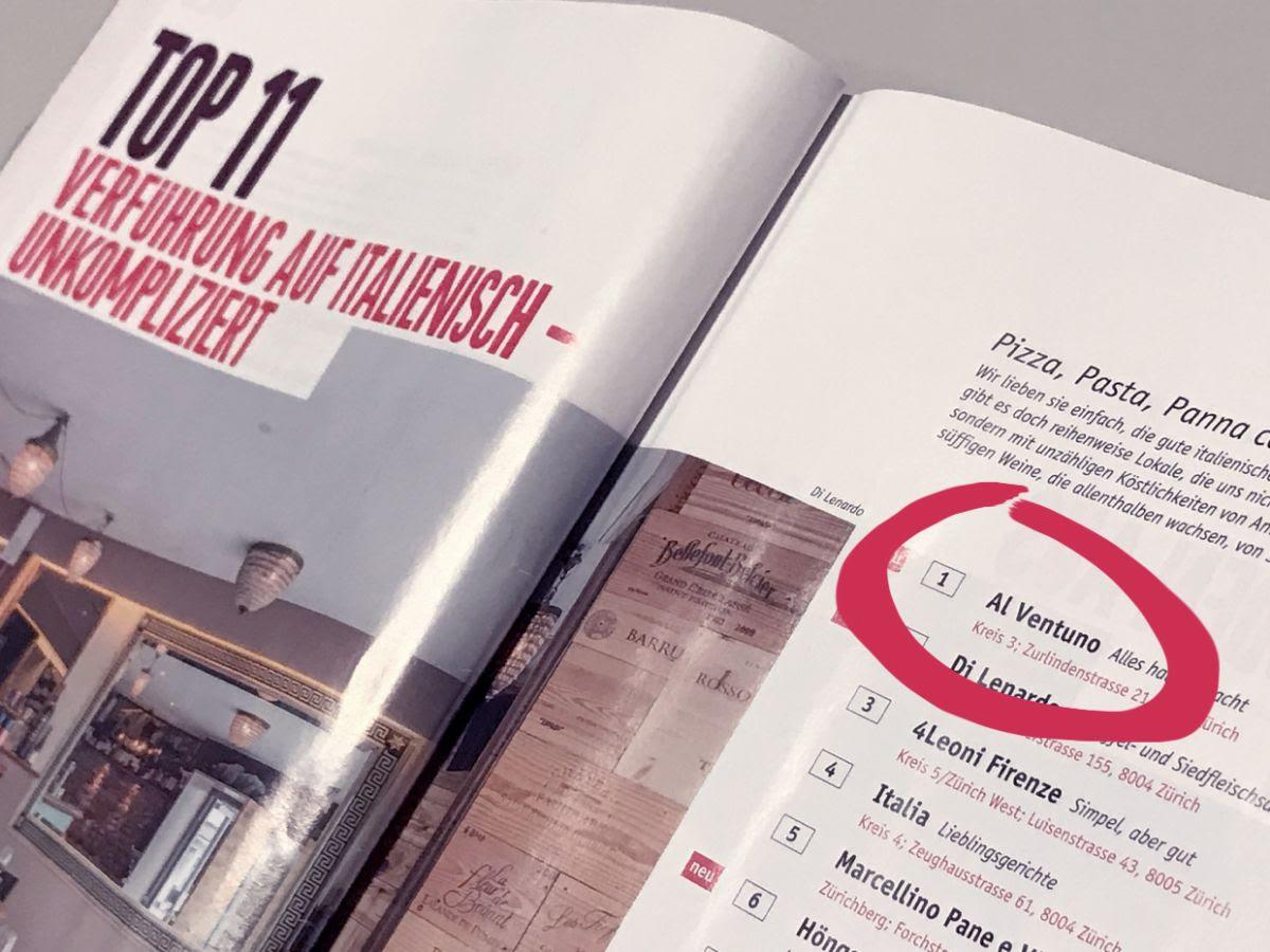 1° Platz für Restaurant auf Zurich Geht Aus