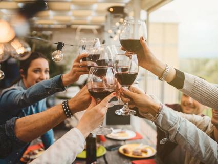 Proostende,blije mensen bij een sitting dinner, afbeeling