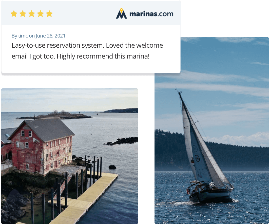 boater leaving a 5-star review of marina