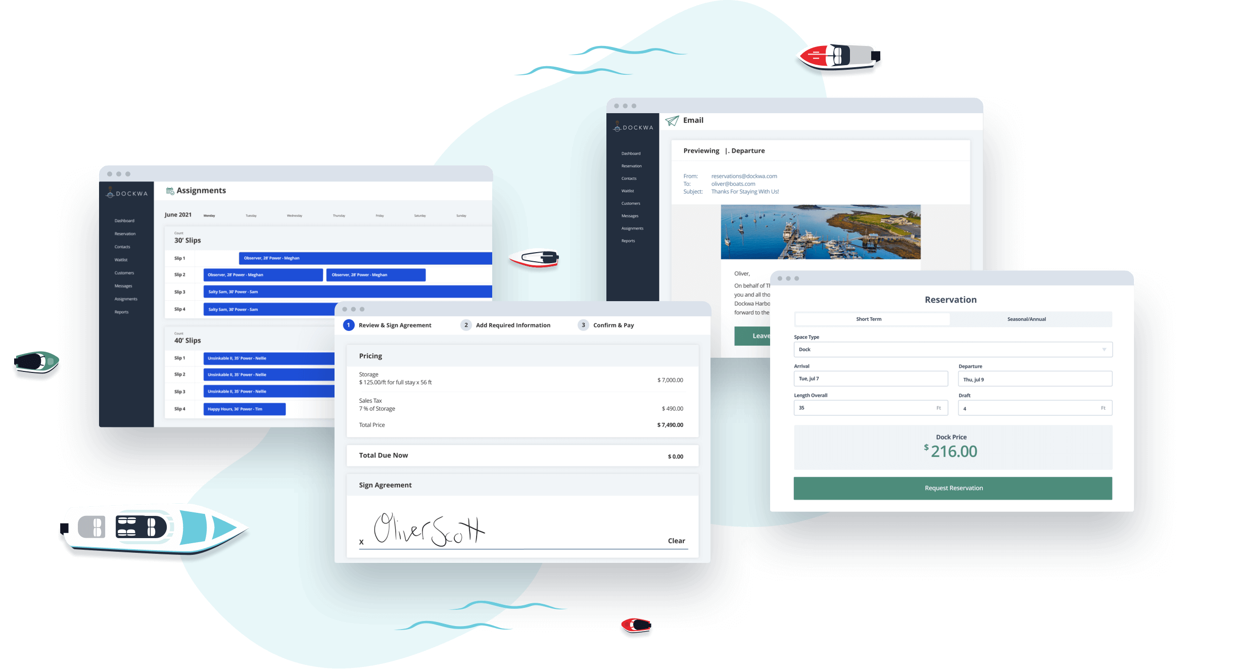Dockwa's marina management software features