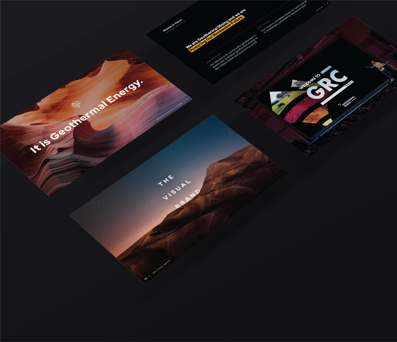a grid of four examples of unique and sleek social and webpage graphics are laid out on a flat surface