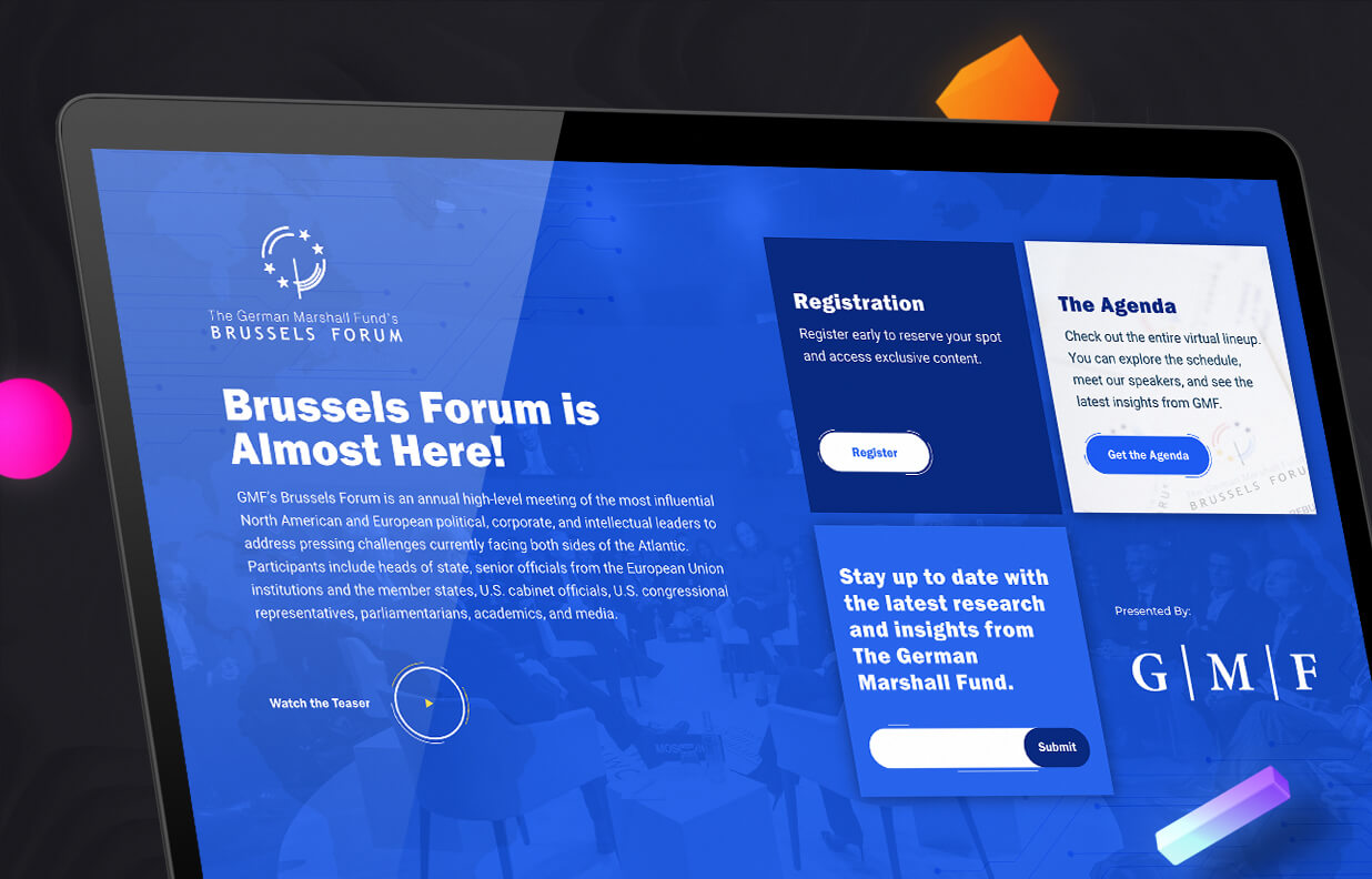 The German Marshall Fund's Brussels Forum event overview page with registration links, agenda links, and a link to a teaser video