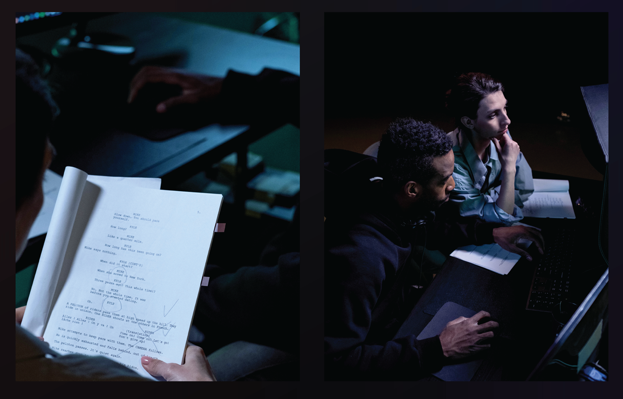 On the left, one man reads a script with markings on it in a dark room with a desk. On the right, a man and a woman work together at a desk and look onto a computer screen with a keyboard and mouse