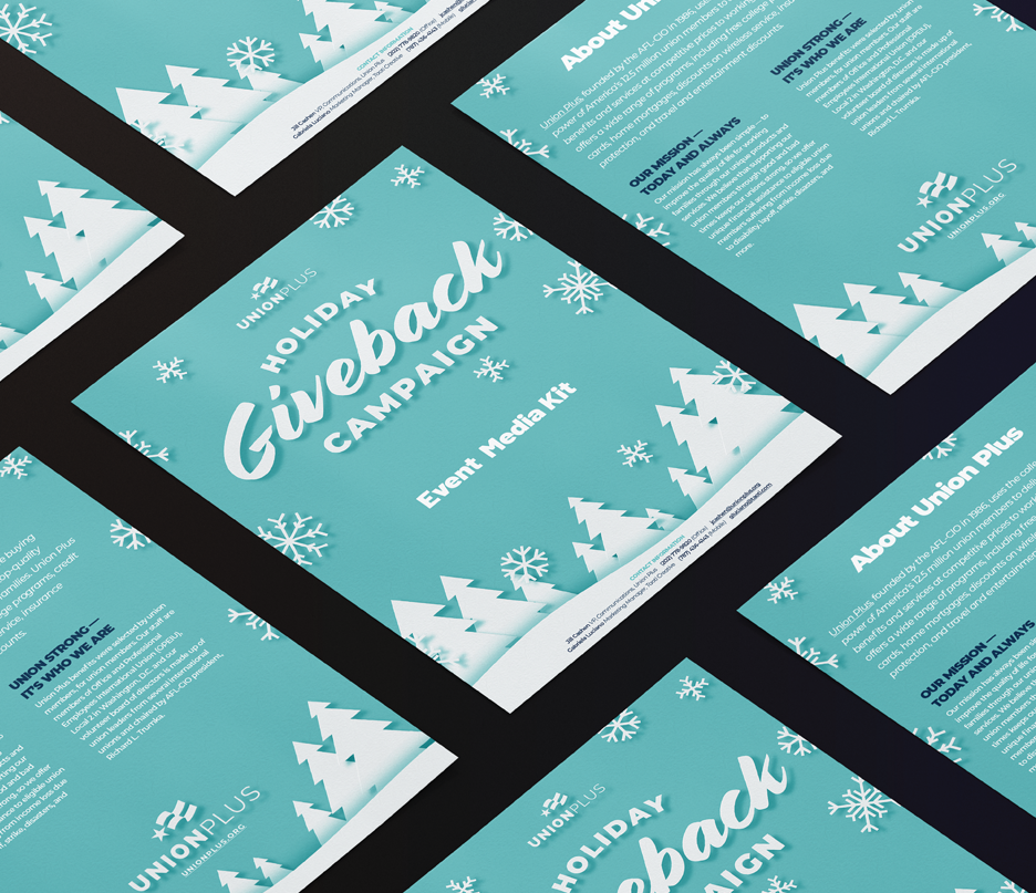 seven mockups of blue holiday giveback campaign page examples lay flat on a dark surface