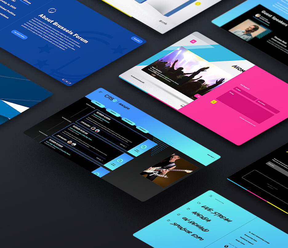 multiple examples of cool digital venue design layouts and homepages that vary in color and architecture all laid out on a surface
