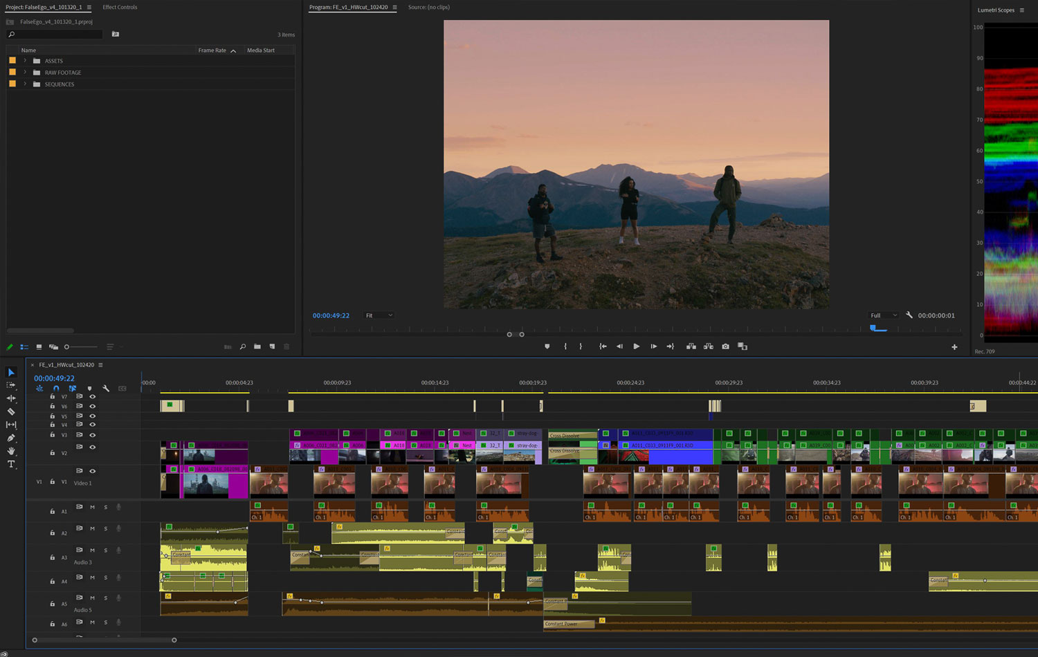 Post-production video editing.