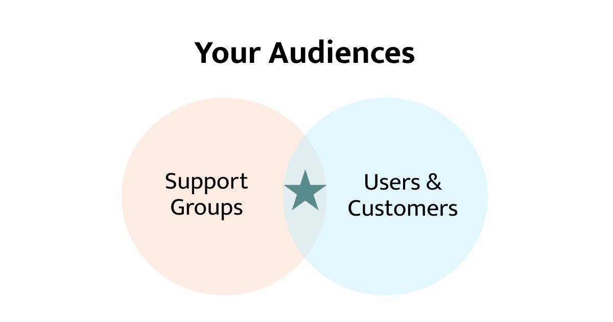 Most of the time, your audience is a mix of support groups and users.