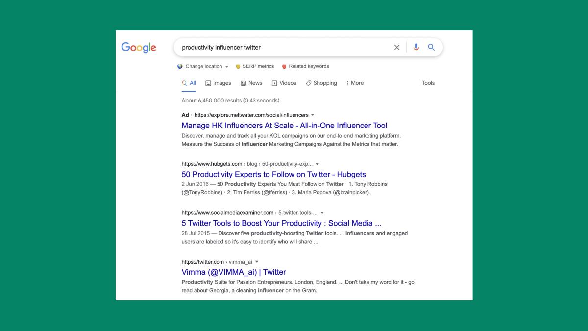 Google results for productivity influencers
