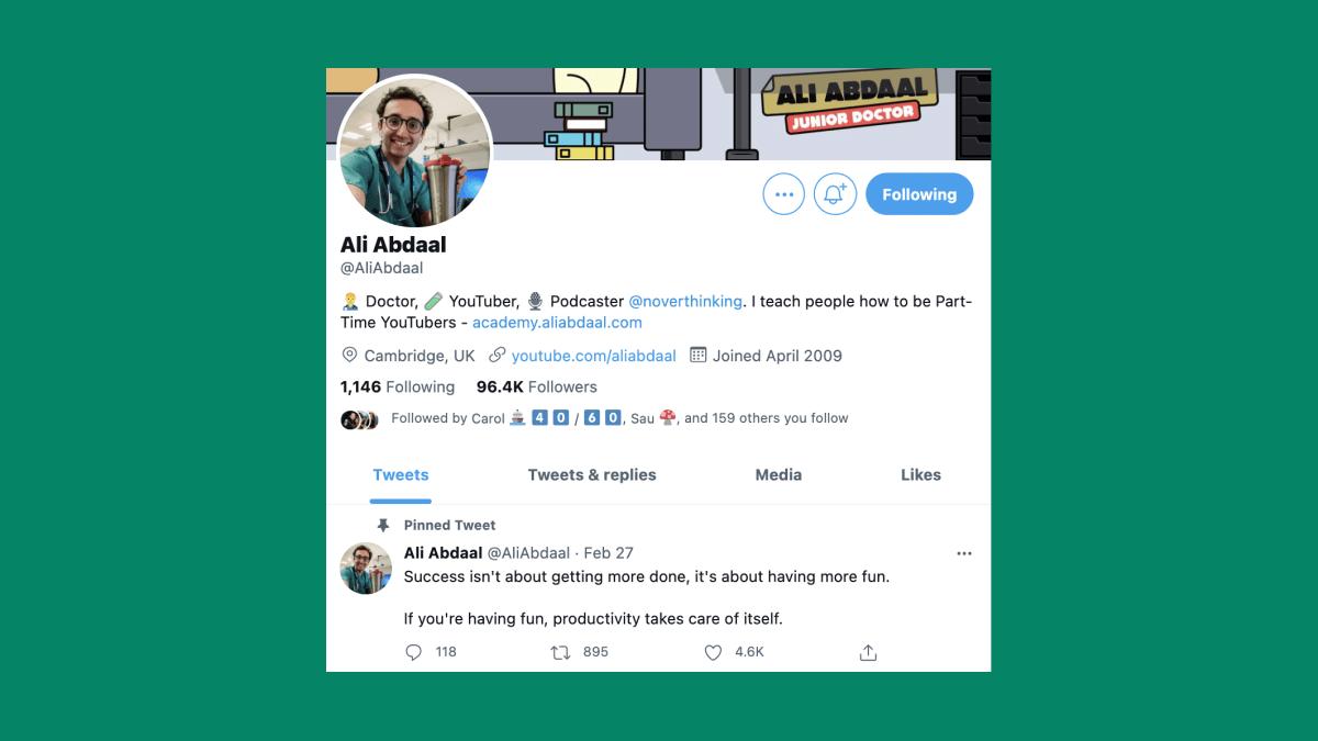Ali Abdaal's Twitter