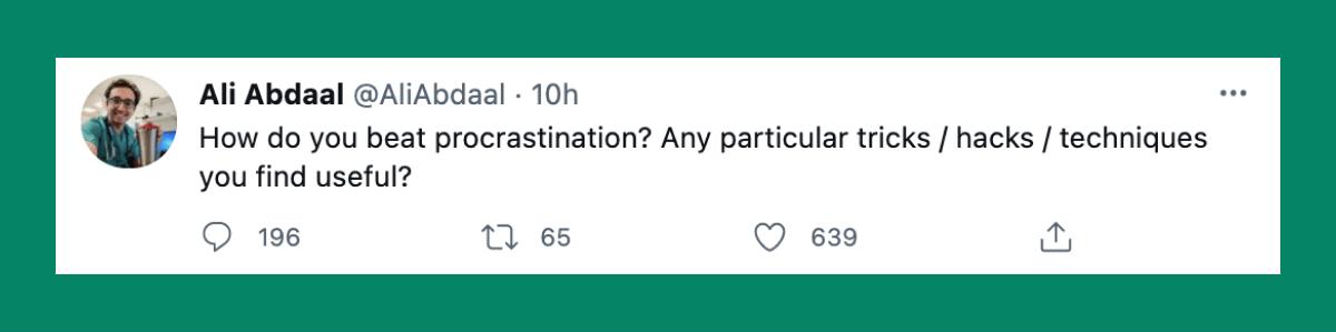 Ali Abdaal's popular tweet