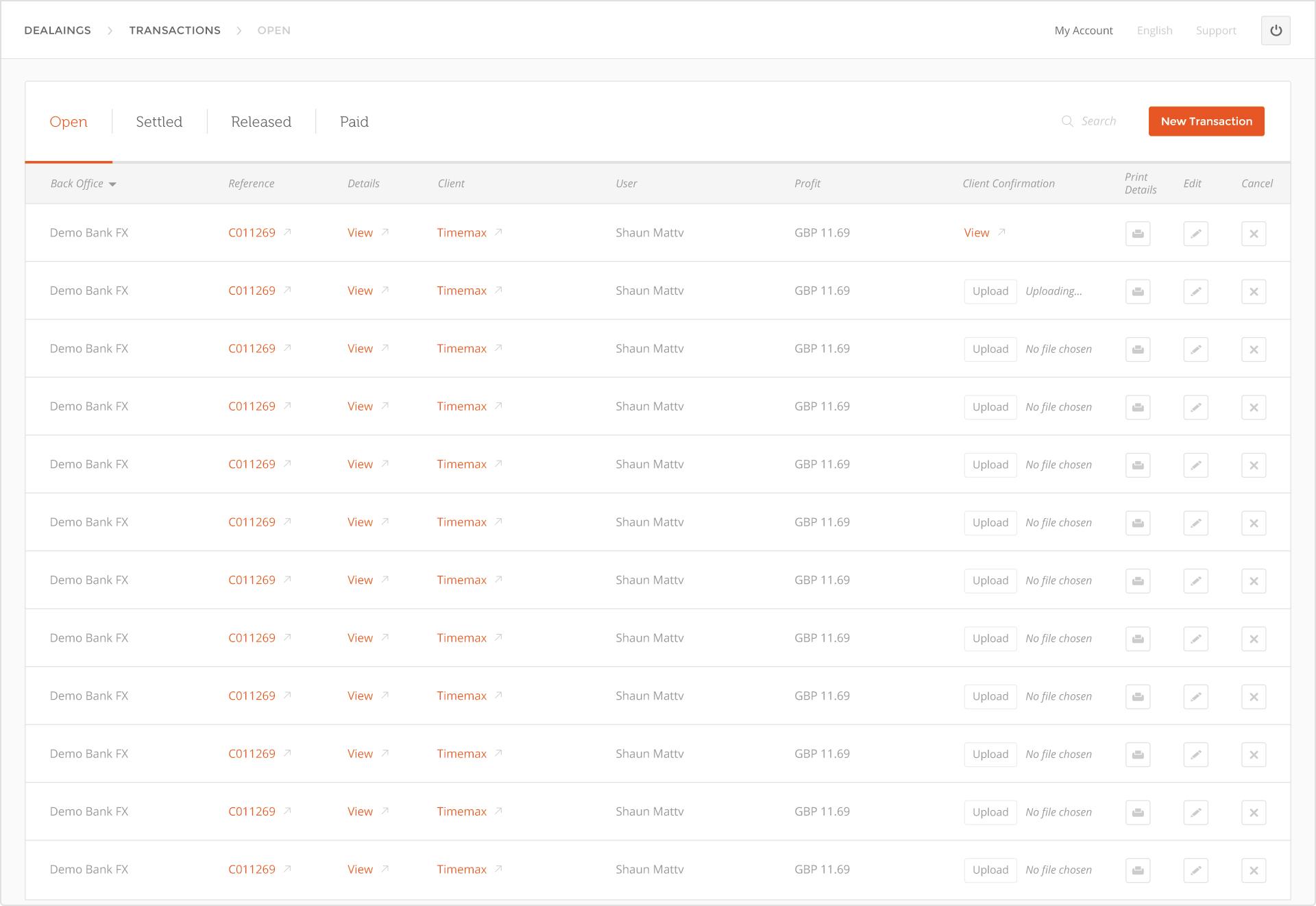 Cymonz international payments software  user interface