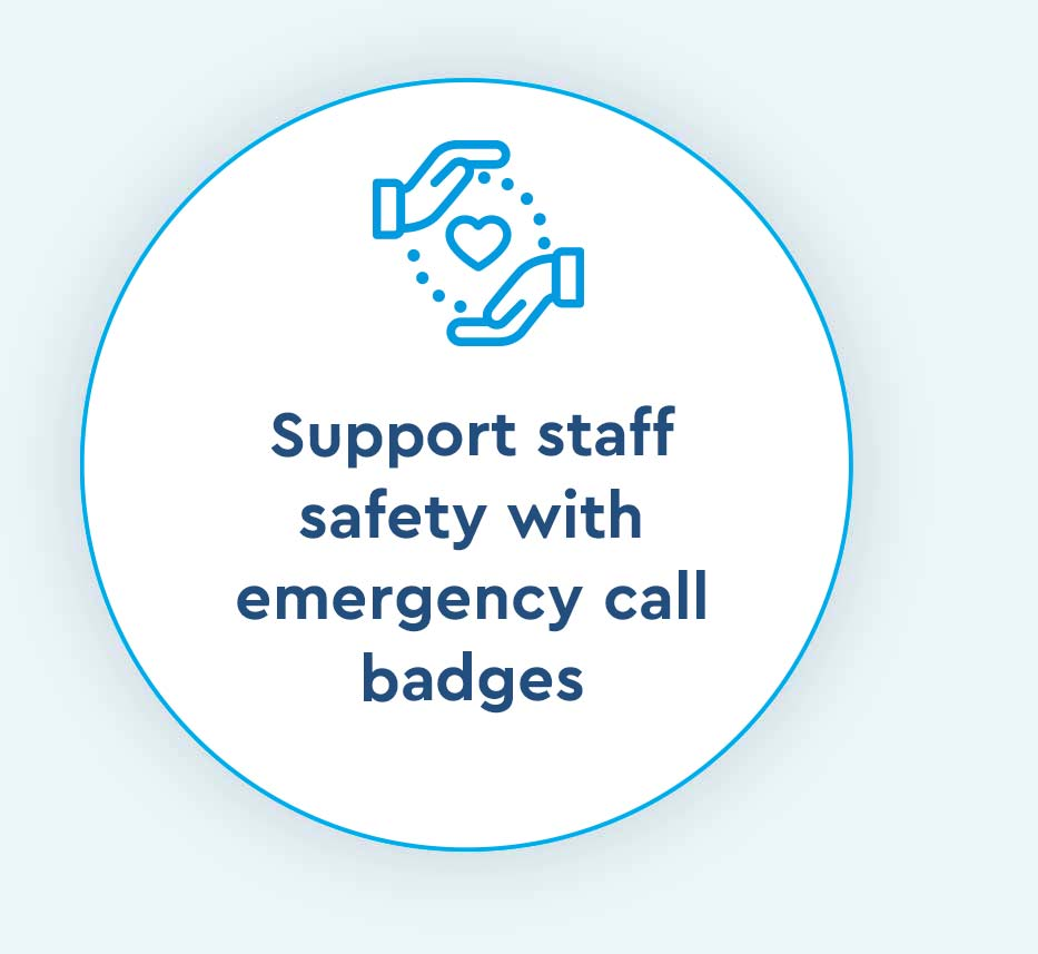 support staff with emergency call badges icon for Cox Prosight
