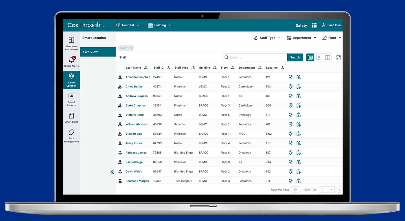 screenshot of Cox Prosight Smart Locations