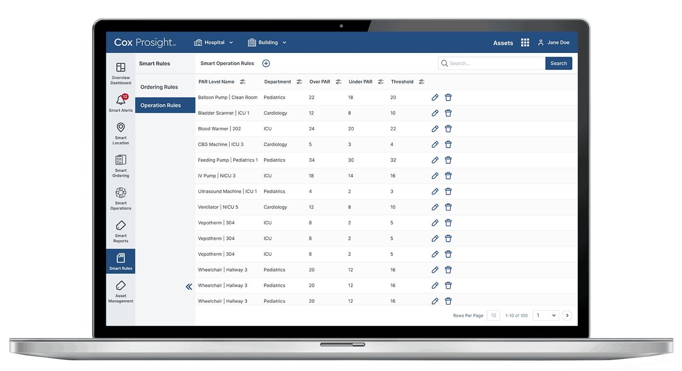 screenshot of Cox Prosight Smart Rules