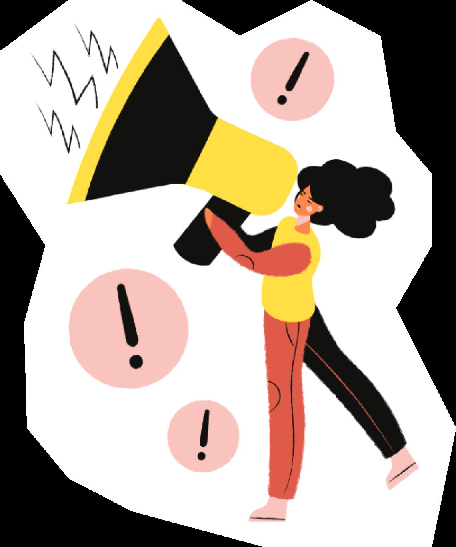 Cartoon women holding megaphone